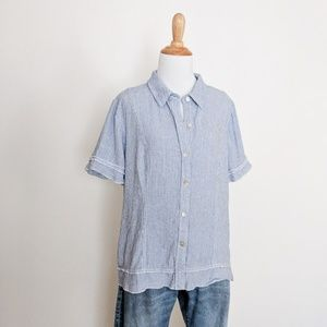 Textural Button Down with Ruffle Detail